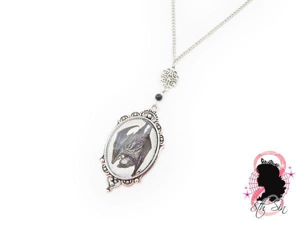 Antique Silver Vampire Bat Necklace